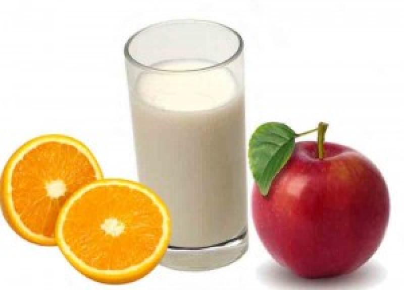 Мляко, плодове и зеленчуци