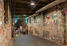 Необичайно изложение на стена от дъвки в Сиатъл